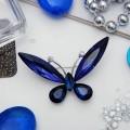 """Брошь """"Бабочка"""" монохром, цвет синий, цвет серебристый"""