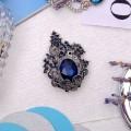 """Брошь """"Ажур"""", цвет синий в черненом серебре"""