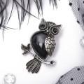 Брошь-кулон сова на ветке агат чёрный