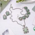 """Комплект: серьги, кулон, браслет в металле авантюрин зеленый прямоугольник, узор """"лоза"""""""