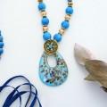 """Кулон восход """"Муранское стекло"""" капля на бусах, цвет синий, 80 см"""