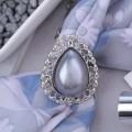 """Кольцо для платка """"Барокко"""" капля, цвет серый, цвет серебристый"""