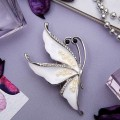 """Брошь """"Бабочка"""" нежность, цвет белый, цвет серебристый (пластик, стразы, эмаль)"""
