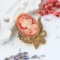 """Брошь """"Камея"""" лавра, цвет розовый в черненом золоте (пластик, стразы)"""