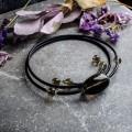 Ожерелье на струнке раухтопаз, черная трубочка
