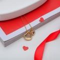 """Кулон """"Сердечка два"""", цвет белый, цвет золотистый, 45 см (стразы, бижутерный сплав)"""