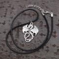 """Кулон """"Дракон"""", цвет чернёное серебро, 40 см (текстиль, бижутерный сплав)"""