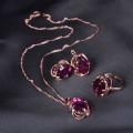 """Гарнитур 3 предмета: серьги, кулон, кольцо (безразмерное) """"Овал"""" классик, цвет фиолетовый, цвет золотистый (стразы)"""