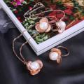 """Гарнитур 3 предмета: серьги, кулон, кольцо безразмерное """"Цветок"""" трилистник, цвет белый, цвет золотистый, 45см (пластик, бижутерный сплав)"""