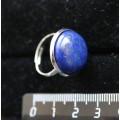 Кольцо с лазуритом, круг 18мм, безразмерное