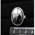 Кольцо с гематитом, овал 25х18мм, безразмерное (литая оправа)