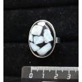 Кольцо с ларимаром (кабошон-мозаика), овал 25х18мм, безразмерное (литая оправа)