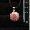 Кулон из турмалина розового (кабошон-мозаика), круг 18мм
