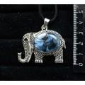 """Кулон из кианита (кабошон-мозаика), овал 25х18мм, """"слон"""""""