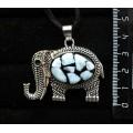 """Кулон из ларимара (кабошон-мозаика), овал 25х18мм, """"слон"""""""