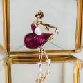 """Брошь """"Балерина"""" в пуантах, цвет бело-фиолетовый, цвет золотистый"""