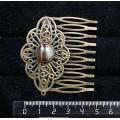 Заколка-шпилька из агата черного, круг 12мм, основа цвет бронза с узором