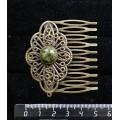 Заколка-шпилька из змеевика, круг 12мм, основа цвет бронза с узором