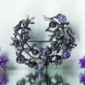"""Брошь """"Ветвь аметиста"""", цвет фиолетовый, цвет серебристый"""