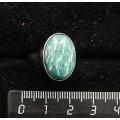 Кольцо с амазонитом, овал, 18х13мм, литая основа, родирование