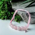 Браслет шар №10 кварц розовый шамбала, 6 бусин