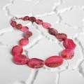 Бусы галтовка на увеличение агат тонированный, цвет розовый