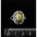 Кольцо c змеевиком, греческое, родиум, 14х10мм
