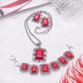 """Комплект: серьги, кулон, браслет в металле коралл красный (имитация) прямоугольник, узор """"лоза"""""""