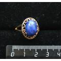 Кольцо c лазуритом синим, греческое, 14х10мм
