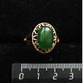 Кольцо c кварцем тонированным, цвет хризопраз, греческое, 14х10мм
