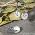 Гарнитур родирование 2 предмета: серьги, кольцо жемчуг (майорка) ягодка, цвет белый