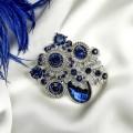 """Брошь """"Императрица"""" тьма, цвет синий, цвет серебристый (Стекло, стразы, бижутерный сплав)"""