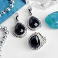 Гарнитур мельхиор 2 предмета: серьги, кольцо, капля авантюрин синий синт. в металлической оправе