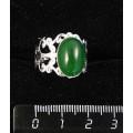 Кольцо из кварца тонированного, цвет хризопраз, ажурная оправа, цвет серебро, сеттинг овал 14х10мм, безразмерное