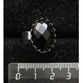 Кольцо с агатом черным огранка, овал 18х13мм, безразмерное