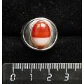 Кольцо c сердоликом полосатым, литая широкая, цвет родиум, сеттинг овал 14х10мм р-р 17.5