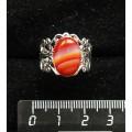 Кольцо с сердоликом полосатым, ажурная оправа, цвет серебро, сеттинг овал 14х10мм, безразмерное