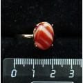 Кольцо c сердоликом полосатым, овал 14х10мм