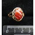 Кольцо c сердоликом полосатым , греческое, 14х10мм