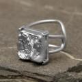 """Кольцо """"Богема"""" квадрат, цвет серебро, безразмерное"""