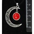 "Кулон из агата красного, (тонировка под коралл), ""луна"", круг 12мм"