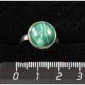 Кольцо c малахитом, круг 12мм, безразмерное