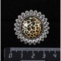 """Кольцо с кабошоном из пластика, рисунок """"леопард"""", круг 20мм, """"подсолнух"""", безразмерное"""