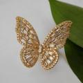 """Кольцо """"Бабочка"""" крупная, цветное, цвет золотистый, безразмерное"""