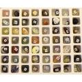 Коллекция минералов и поделочных камней 56 образцов, в коробке 20х16см
