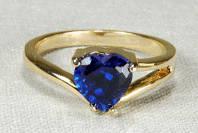 """Кольцо со шпинелью синей """"сердечко"""""""